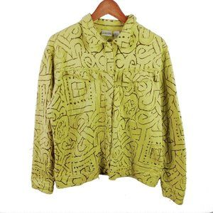 Chicos Snap Jacket Size 2 L Green Embroidered